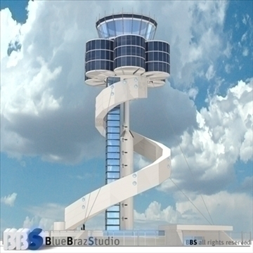 sydney airport control tower 3d model 3ds dxf c4d obj 105453