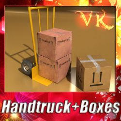 3D Model Hand Truck & Cartons High Res ( 116.58KB jpg by VKModels )