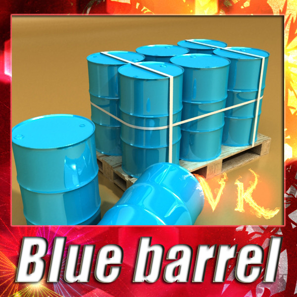 blauwe metalen drums & pallet hoge resolutie 3d model 3ds max fbx obj 130365