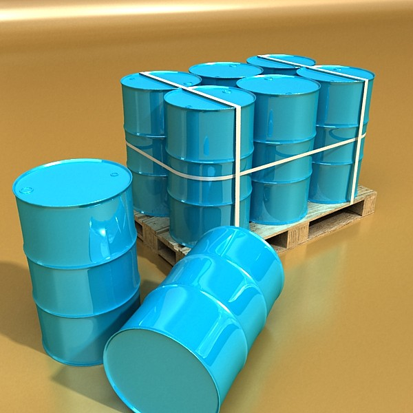 blue metal drums & pallet high resolution 3d model 3ds max fbx obj 130366