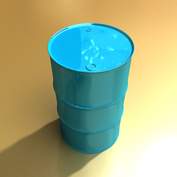 blue metal drums & pallet high resolution 3d model 3ds max fbx obj 130367