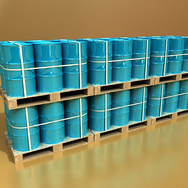 blue metal drums & pallet high resolution 3d model 3ds max fbx obj 130368