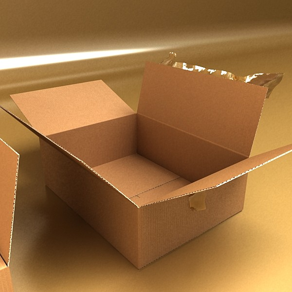 cardboard box with tape & mailing label 3d model 3ds max fbx psd obj 130211