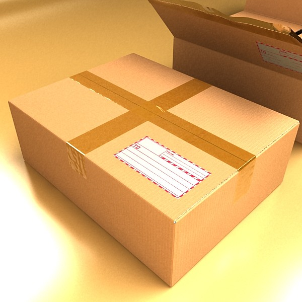 cardboard box with tape & mailing label 3d model 3ds max fbx psd obj 130213