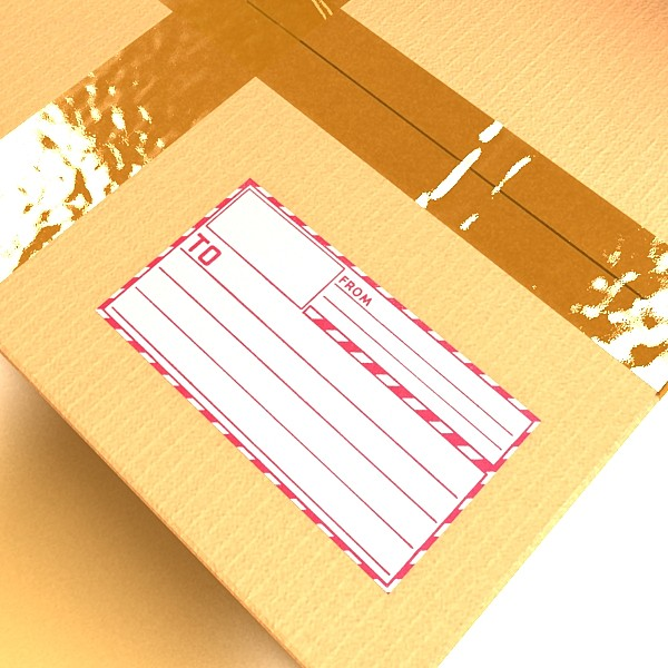 cardboard box with tape & mailing label 3d model 3ds max fbx psd obj 130214