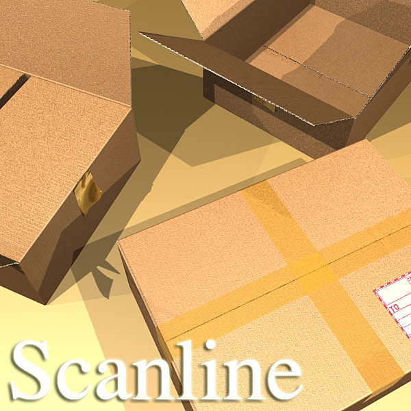 cardboard box with tape & mailing label 3d model 3ds max fbx psd obj 130219