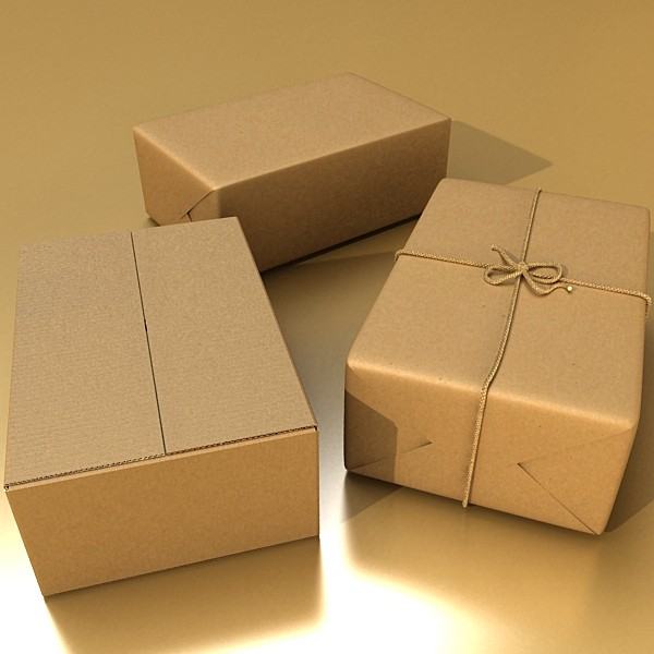 cardboard box wrapped in brown paper 3d model 3ds max fbx obj 130196
