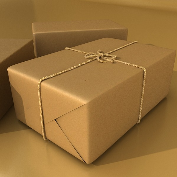 cardboard box wrapped in brown paper 3d model 3ds max fbx obj 130197