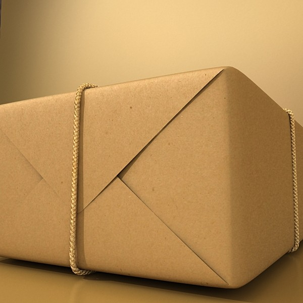 cardboard box wrapped in brown paper 3d model 3ds max fbx obj 130198