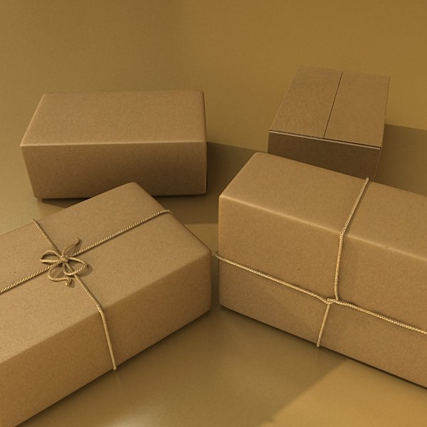 cardboard box wrapped in brown paper 3d model 3ds max fbx obj 130200