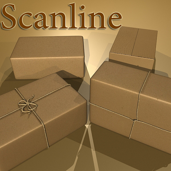 cardboard box wrapped in brown paper 3d model 3ds max fbx obj 130201