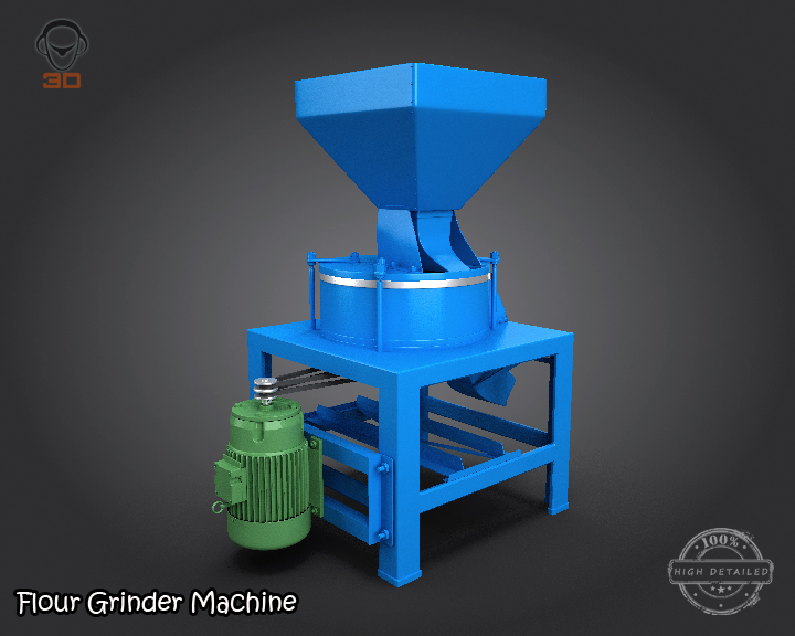 flour grinder machine 3d model 3ds max fbx obj 147687