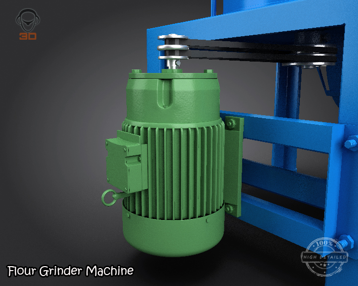 flour grinder machine 3d model 3ds max fbx obj 147689