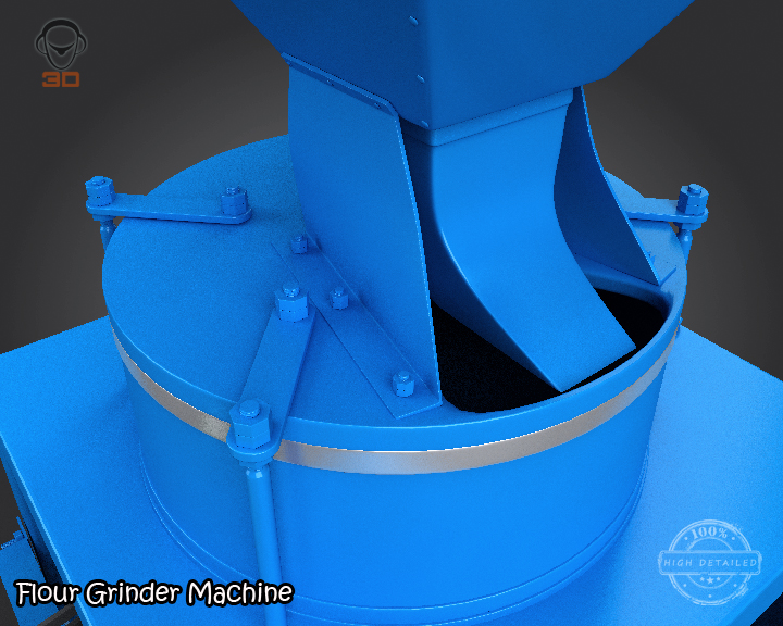 flour grinder machine 3d model 3ds max fbx obj 147694