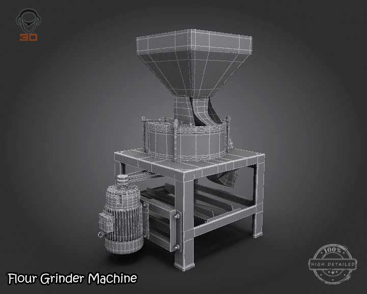 flour grinder machine 3d model 3ds max fbx obj 147699
