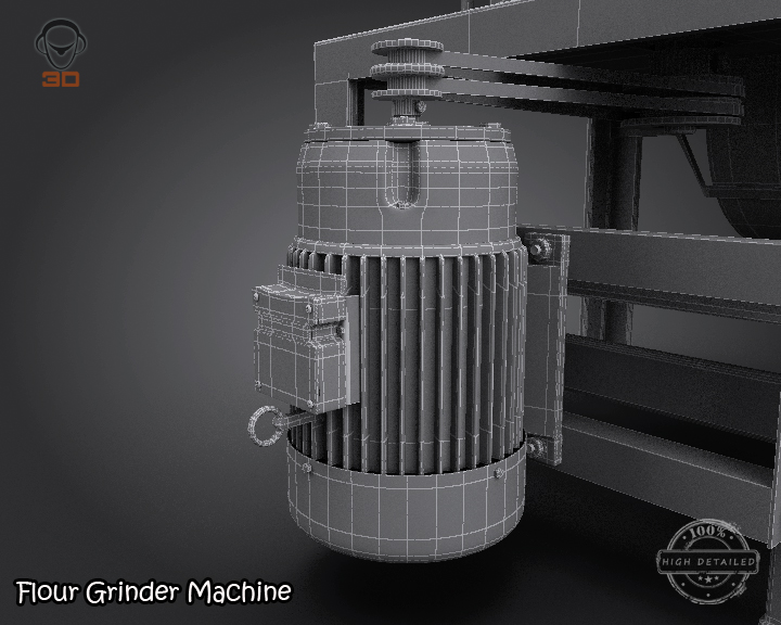 flour grinder machine 3d model 3ds max fbx obj 147700