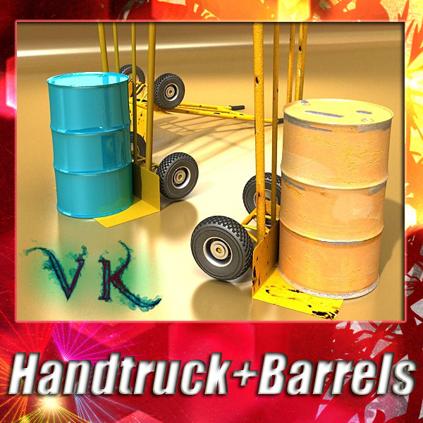 hand truck & 55 gallon drums high res 3d model 3ds max fbx obj 130537