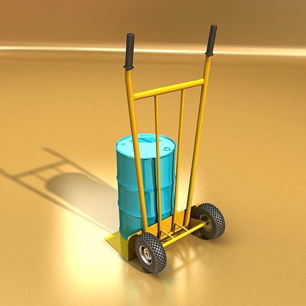 hand truck & 55 gallon drums high res 3d model 3ds max fbx obj 130539