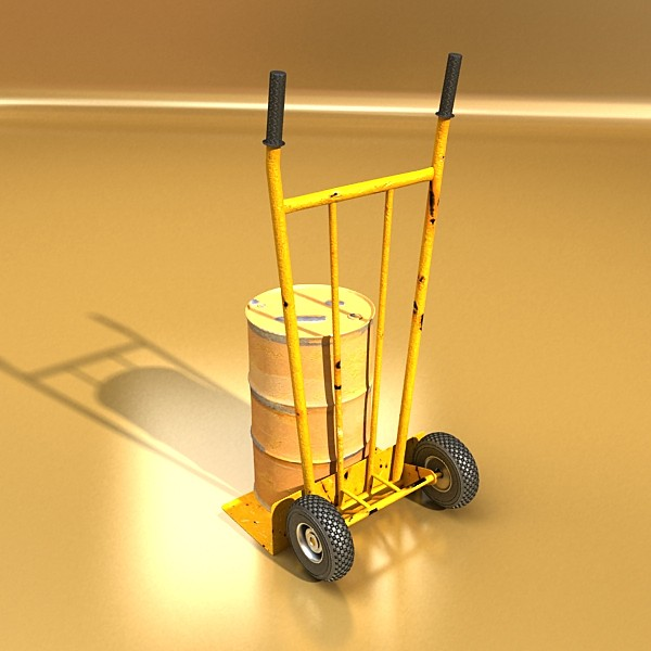 hand truck & 55 gallon drums high res 3d model 3ds max fbx obj 130540