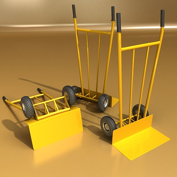 hand truck & 55 gallon drums high res 3d model 3ds max fbx obj 130542