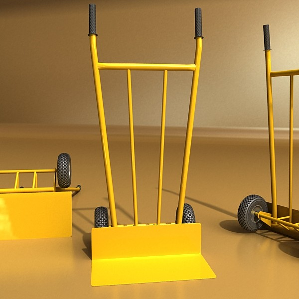 hand truck & 55 gallon drums high res 3d model 3ds max fbx obj 130544