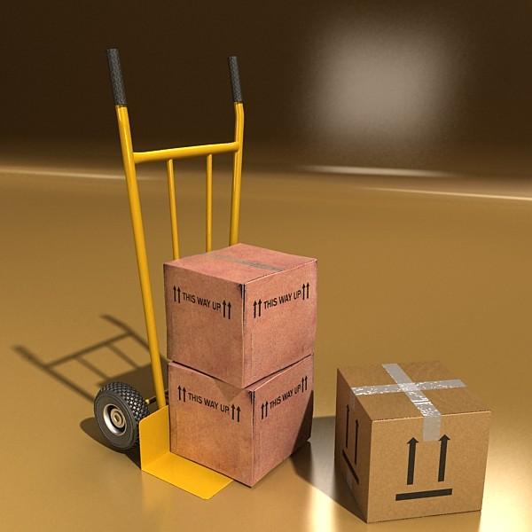 hand truck & cartons high res 3d model 3ds max fbx psd obj 130311