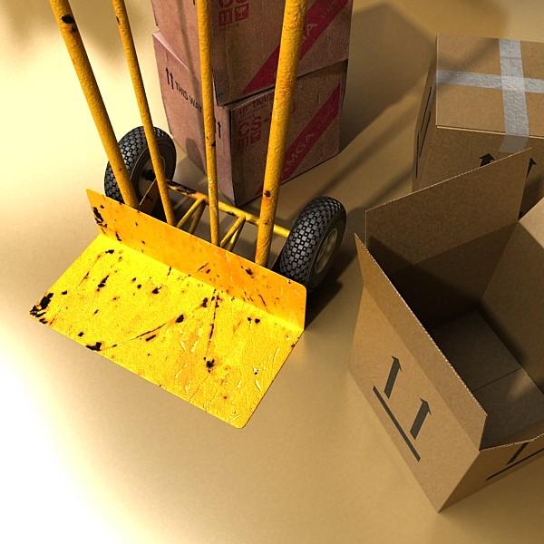 hand truck & cartons high res 3d model 3ds max fbx psd obj 130312