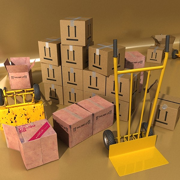 hand truck & cartons high res 3d model 3ds max fbx psd obj 130313