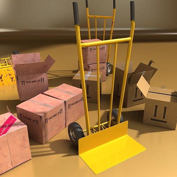 hand truck & cartons high res 3d model 3ds max fbx psd obj 130314