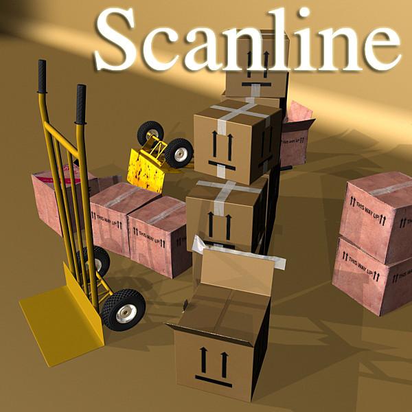 hand truck & cartons high res 3d model 3ds max fbx psd obj 130316