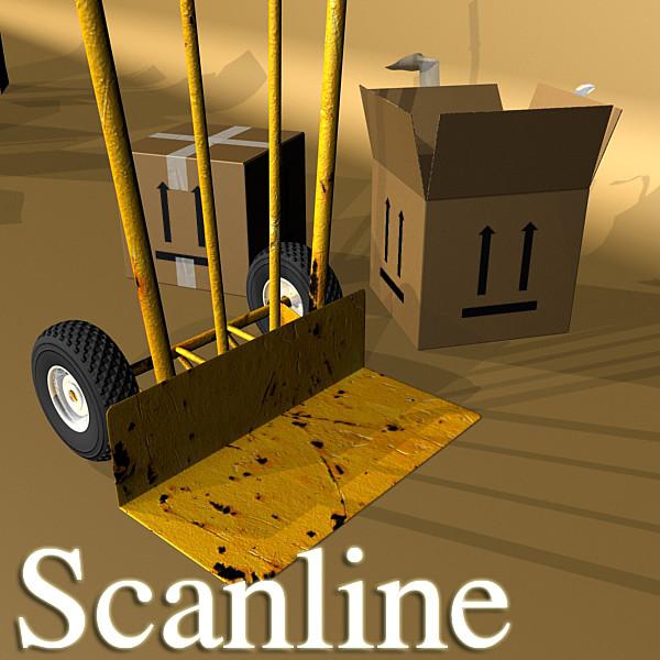 hand truck & cartons high res 3d model 3ds max fbx psd obj 130317
