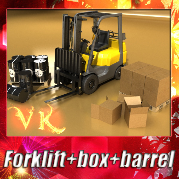 lift truck, pallet, cartons & metal drums 3d model max fbx obj 130616