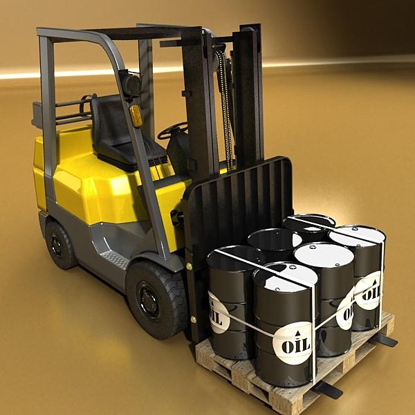 lift truck, pallet, cartons & metal drums 3d model max fbx obj 130617