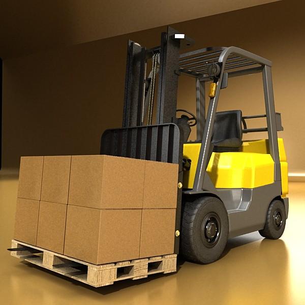 lift truck, pallet, cartons & metal drums 3d model max fbx obj 130618
