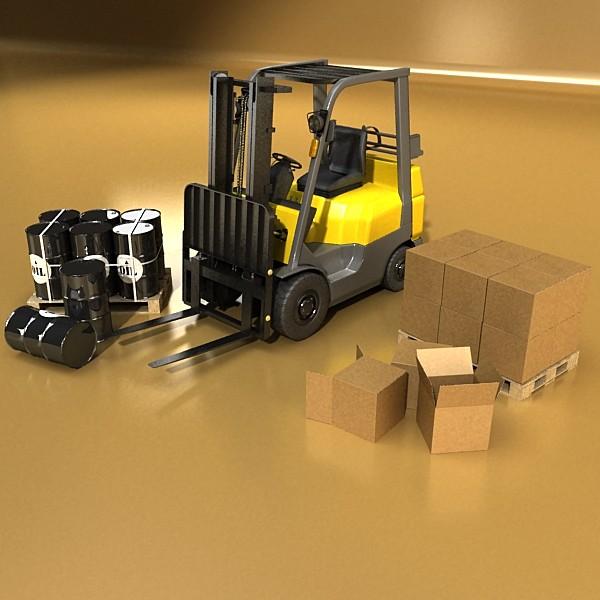 lift truck, pallet, cartons & metal drums 3d model max fbx obj 130619