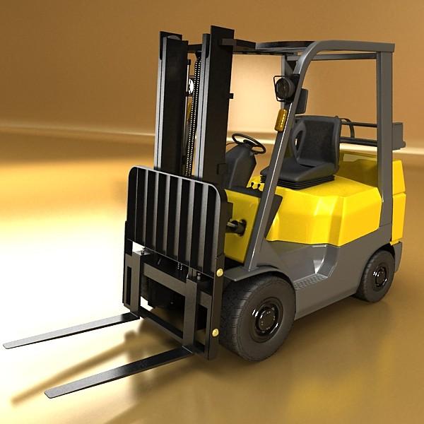 lift truck, pallet, cartons & metal drums 3d model max fbx obj 130625