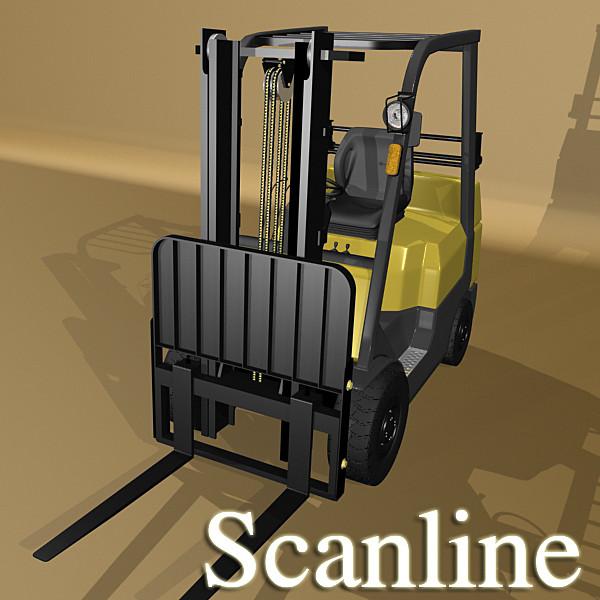lift truck, pallet, cartons & metal drums 3d model max fbx obj 130631