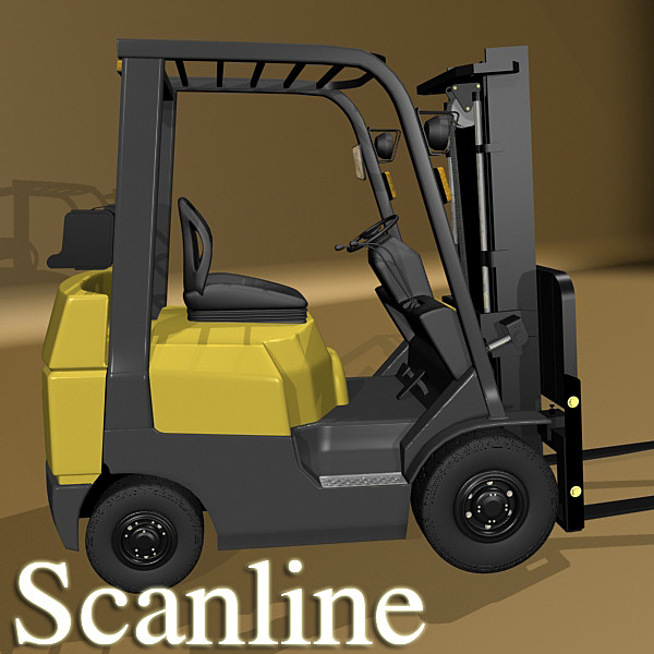 lift truck, pallet, cartons & metal drums 3d model max fbx obj 130632