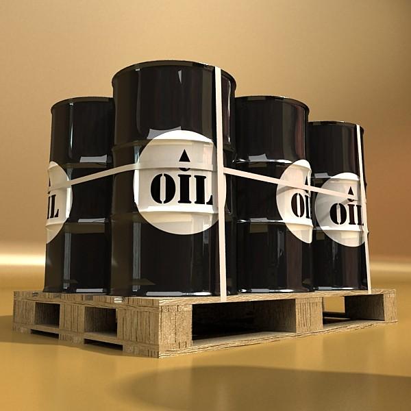 metal oil drums & pallet high resolution 3d model 3ds max fbx obj 130355
