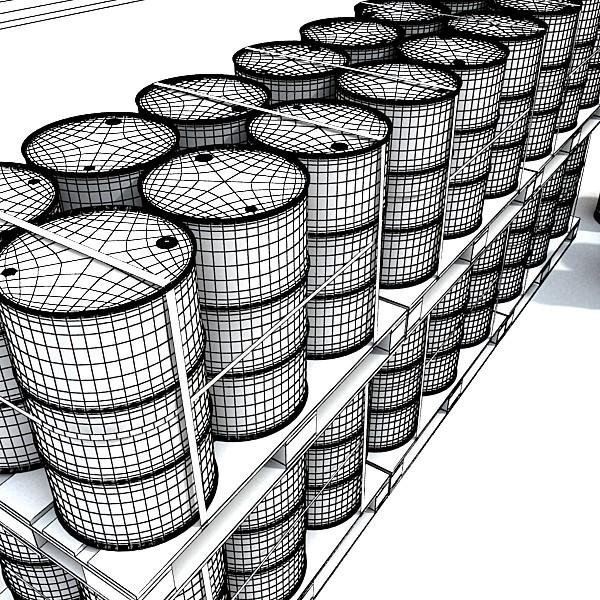metal oil drums & pallet high resolution 3d model 3ds max fbx obj 130361