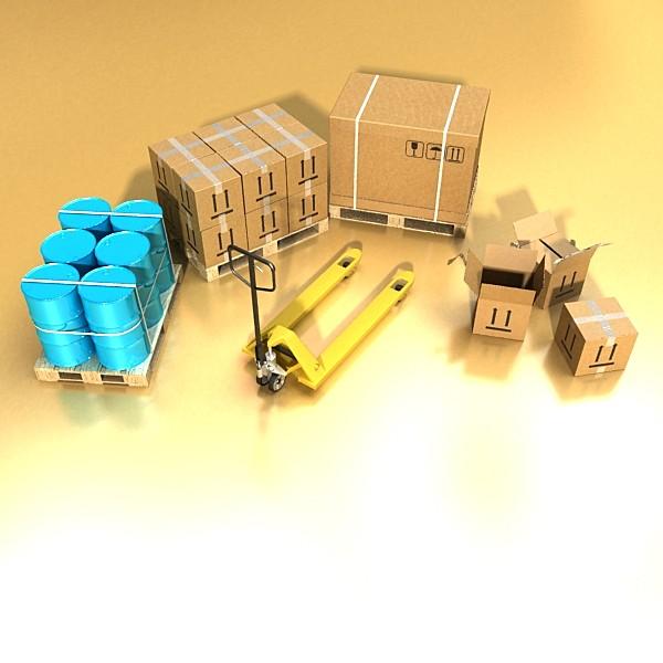 pallet jack with cartons & metal drums 3d model 3ds max obj 130570