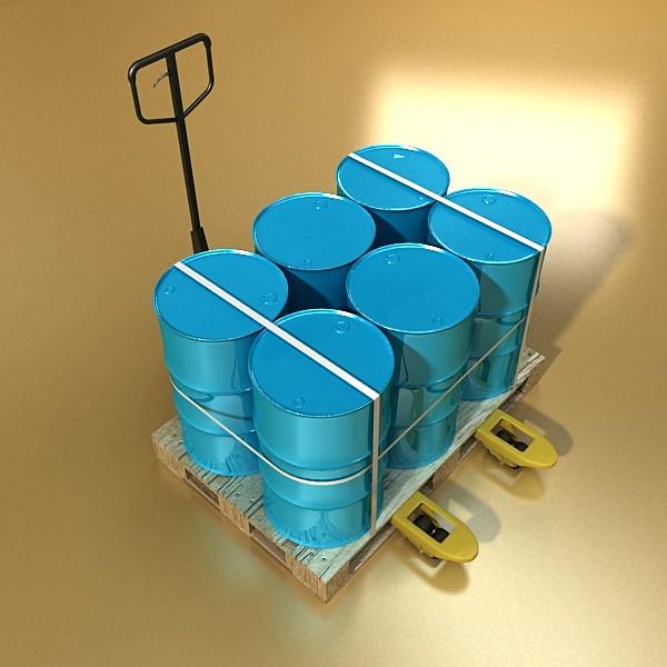 pallet jack with cartons & metal drums 3d model 3ds max obj 130572