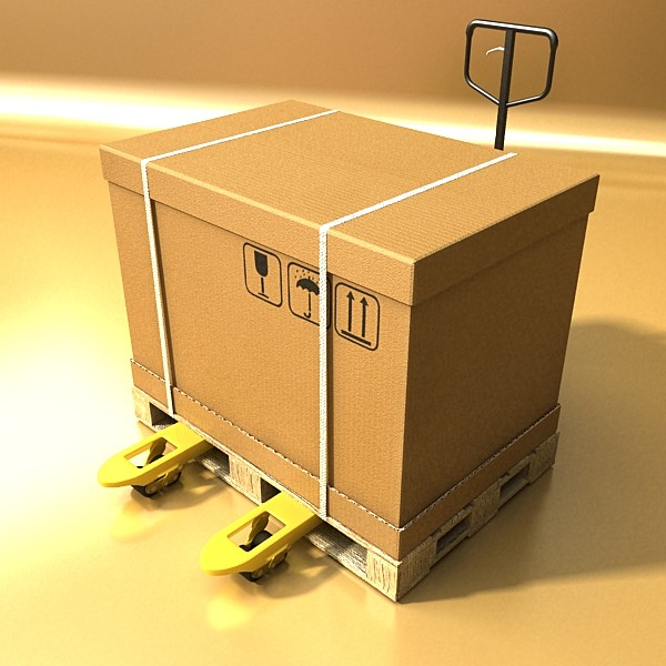 pallet jack with cartons & metal drums 3d model 3ds max obj 130575