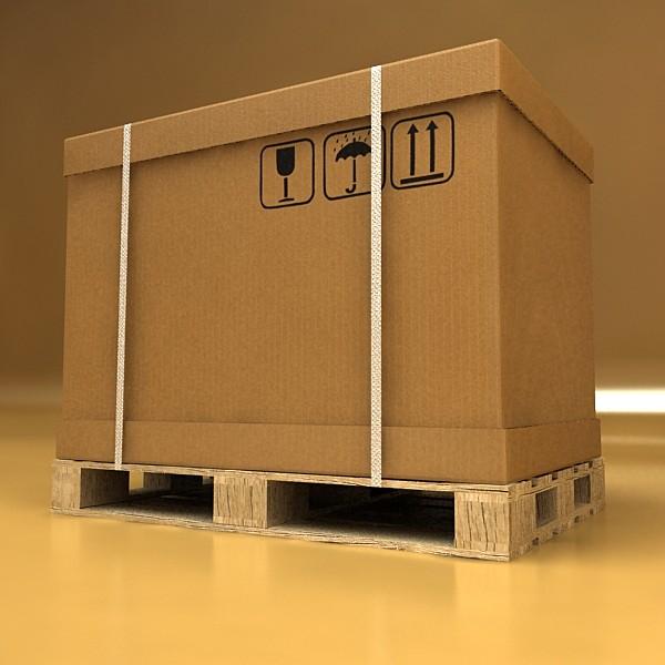 pallet jack with cartons & metal drums 3d model 3ds max obj 130584