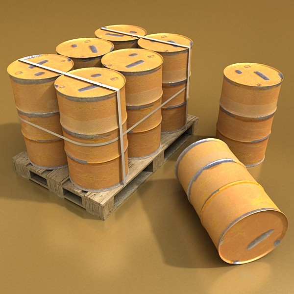 pallet & metal drums high resolution 3d model 3ds max fbx obj 130525