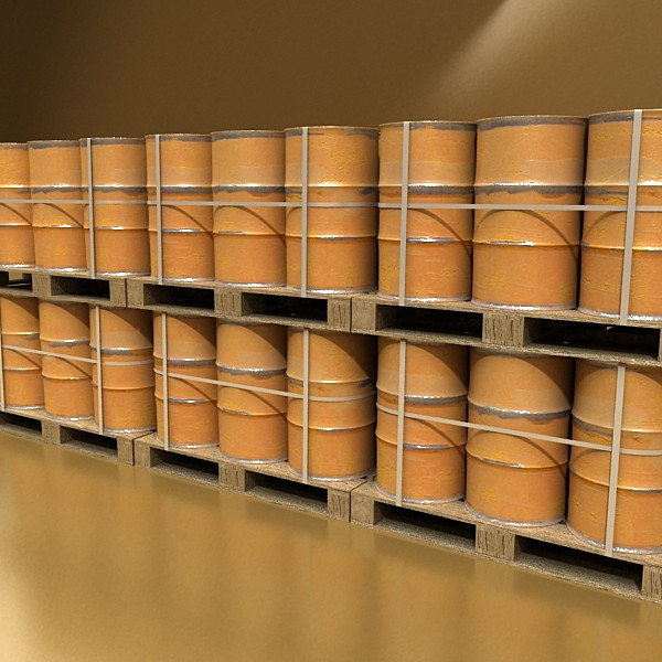 pallet & metal drums high resolution 3d model 3ds max fbx obj 130529