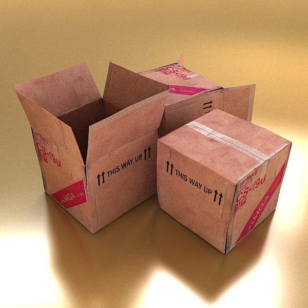 photoreal cardboard carton high res v2 3d model 3ds max fbx obj 130174