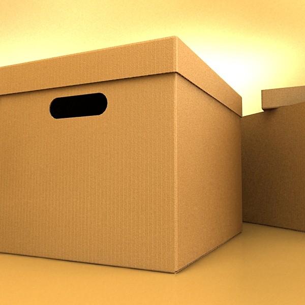 photorealistic cardboard banker box high 3d model 3ds max fbx psd obj 130225
