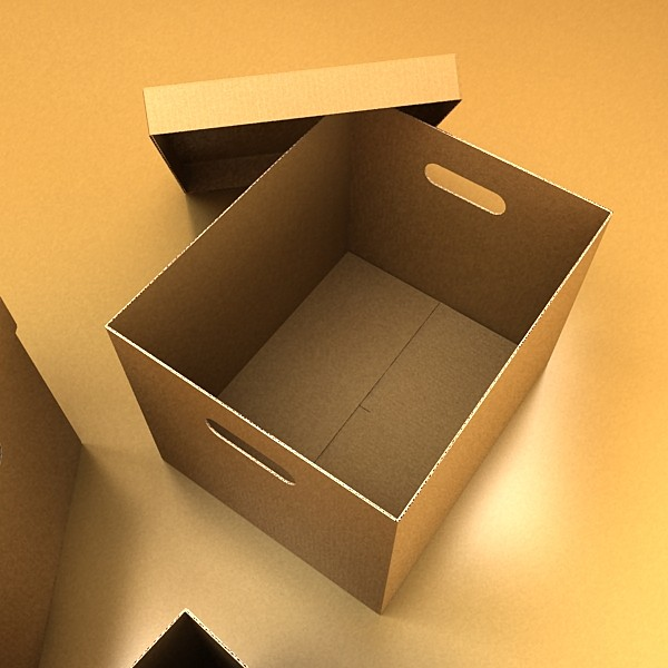 photorealistic cardboard banker box high 3d model 3ds max fbx psd obj 130227