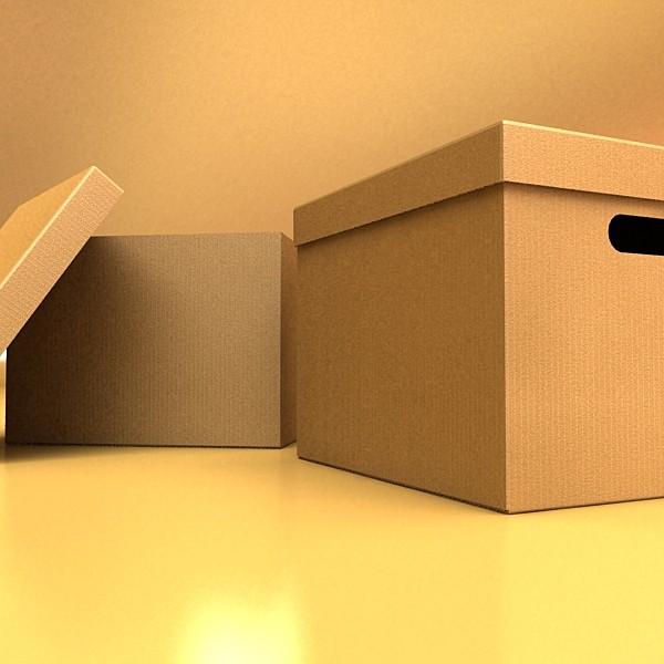 photorealistic cardboard banker box high 3d model 3ds max fbx psd obj 130228